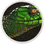 Green Mamba Snake Round Beach Towel