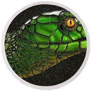 Green Mamba Snake Round Beach Towel