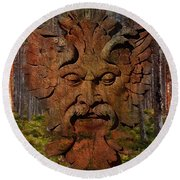 Green Man Of The Forest 2016 Round Beach Towel