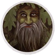 Green Man Painting Round Beach Towel
