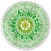 Green Mandala- Abstract Art By Linda Woods Round Beach Towel
