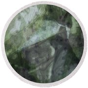 Round Beach Towel featuring the photograph Green Mist by Kathie Chicoine