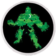 Green Monster Round Beach Towel