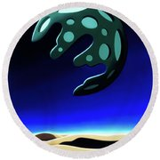 Green Moon Rising Round Beach Towel