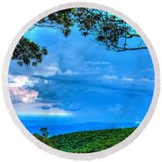 Green Mountain Storm Round Beach Towel