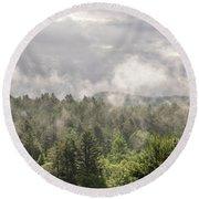 Green Mountains Fog Panoramic Round Beach Towel