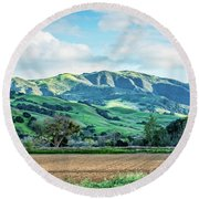 Green Mountains Round Beach Towel