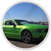 Green Mustang Round Beach Towel