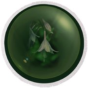 Green Orb Flower Round Beach Towel