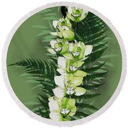 Green Orchid Round Beach Towel