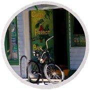 Green Parrot Bar Key West Round Beach Towel