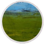 Round Beach Towel featuring the painting Green Pastures 1 by Jani Freimann
