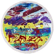 Green Pastures And Purple Mountains Round Beach Towel