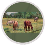 Green Pastures - Horses Grazing In A Field Round Beach Towel