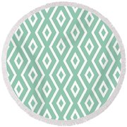 Light Sage Green Pattern Round Beach Towel