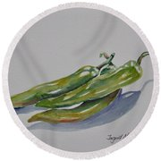 Green Peppers Round Beach Towel