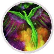 Green Phoenix In Bright Cosmos Round Beach Towel