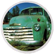 Green Pickup 1959 - American Car Photo Round Beach Towel by Art America Gallery Peter Potter