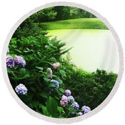 Green Pond Round Beach Towel