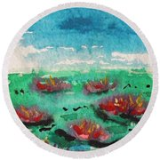 Green Pond With Many Flowers Round Beach Towel