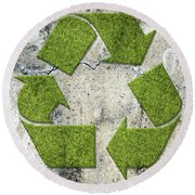 Green Recycling Sign On A Concrete Wall Round Beach Towel by GoodMood Art