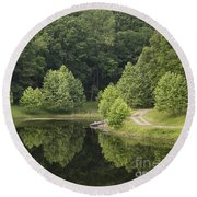 Green Reflections Round Beach Towel