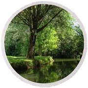 Round Beach Towel featuring the photograph Green Reflections by Cristina Stefan