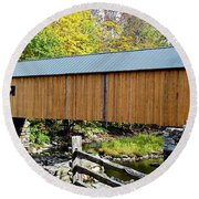 Round Beach Towel featuring the photograph Green River Covered Bridge - Southern Vermont by Joseph Hendrix