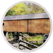 Round Beach Towel featuring the photograph Green River Covered Bridge - Vermont by Joseph Hendrix