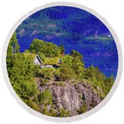 Green Roofs Of Lustrafjorden Round Beach Towel