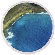 Green Sand Beach Aerial Round Beach Towel