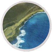 Green Sand Beach Aerial Round Beach Towel by Denise Bird