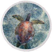 Green Sea Turtle From Above Round Beach Towel