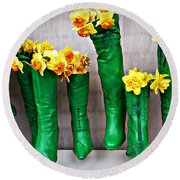 Green Shoes For Yellow Spring Flowers Round Beach Towel