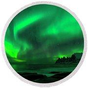 Green Skies At Night Round Beach Towel