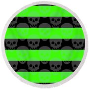 Green Skull Stripes Round Beach Towel