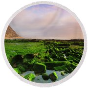 Green Soul Of The Cliff Round Beach Towel by Edgar Laureano