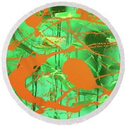 Green Spill Round Beach Towel
