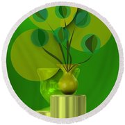 Green Still Life With Abstract Flowers, Round Beach Towel