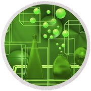 Round Beach Towel featuring the digital art Green Still Life With Freen Bubbles by Alberto RuiZ