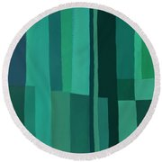 Green Stripes 1 Round Beach Towel