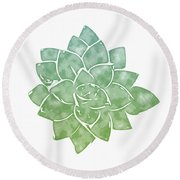 Round Beach Towel featuring the mixed media Green Succulent 1- Art By Linda Woods by Linda Woods