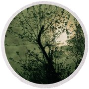 Green Sunset Round Beach Towel
