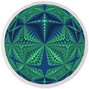 Green Symmetrical Pattern, Kaleidoscope Round Beach Towel