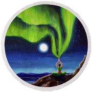 Green Tara Creating The Aurora Borealis Round Beach Towel