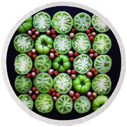 Green Tomato Slice Pattern Round Beach Towel