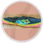 Green Tree Frog Round Beach Towel by Ann Michelle Swadener