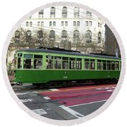 Round Beach Towel featuring the photograph Green Trolley by Steven Spak