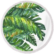 Green Tropic  Round Beach Towel by Mark Ashkenazi