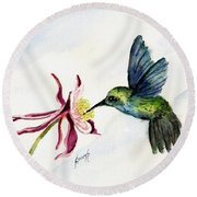 Green Violet-ear Hummingbird Round Beach Towel